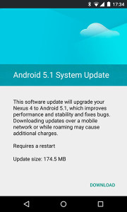 Google Nexus 4,  Update Lollipop 5.1, Lollipop 5.1