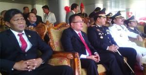 Wakil Ketua DPRD Rommy Pondaag saat mengikuti upacara detik-detik Proklamasi HUT RI ke 70