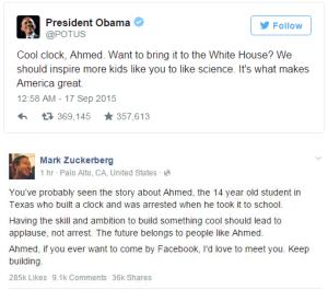 Presiden Obama, facebook, bom buatan, Ahmed Mohamed,