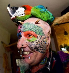 Kakatua, parrot man,  Ted Richards, bristol