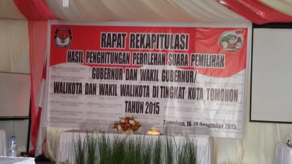 KPU Tomohon, Rekapitulasi suara, Pilkada tomohon, Pilkada 2015,