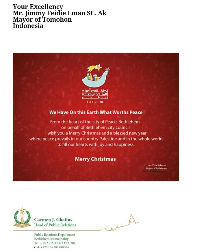 Ucapan Selamat Natal dari Walikota Betlehem kepada Walikota Tomohon