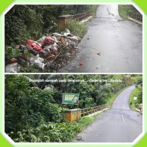 Sampah yang dibuang sembarangan di kompleks jembatan antara Kelurahan Kamasi I dan Kelurahan Kakaskasen