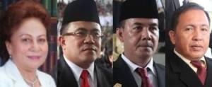Pimpinan DPRD Minsel Jenny Johana Tumbuan SE (ketua), Rommy Pondaag SH MH (Wakil Ketua DPRD), Ir Frangky Lelengboto (Wakil Ketua DPRD) dan Sekertaris DPRD Lucky Sondakh SH