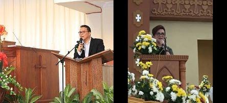 Wali Kota Tomohon membawakan sambutan di Ibadah Paskah GMIM Baitani Matani (kanan) &     Wakil Wali Kota Tomohon membawakan sambutan Paskah di Gereja St Fransiskus Xaverius Kakaskasen (kiri)
