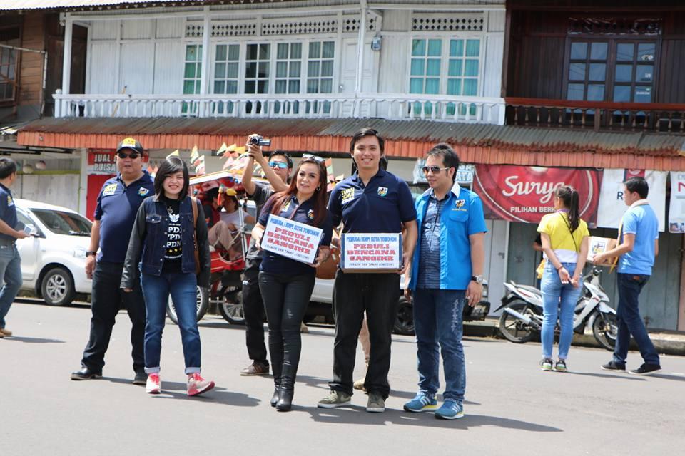 SAS bersama KNPI Tomohon menggalang dana untuk korban bencana Sagihe