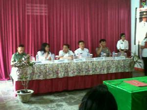 Asisten I Minahasa ,Dr. Denny Mangalah, Camat Langowan Timur ,Camat Langowan Barat,Ir. Sisca Maseo MAP,  Ir. Lendy Aruperes