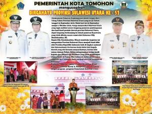 Pemerintah Kota Tomohon Mengucapkan Dirgahayu ke-52 Provinsi Sulut