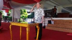 Asisten I Setda Provinsi Sulut, Jhon Palandung, bertindak sebagai irup di geladi bersih HUT Provinsi Sulut ke-52