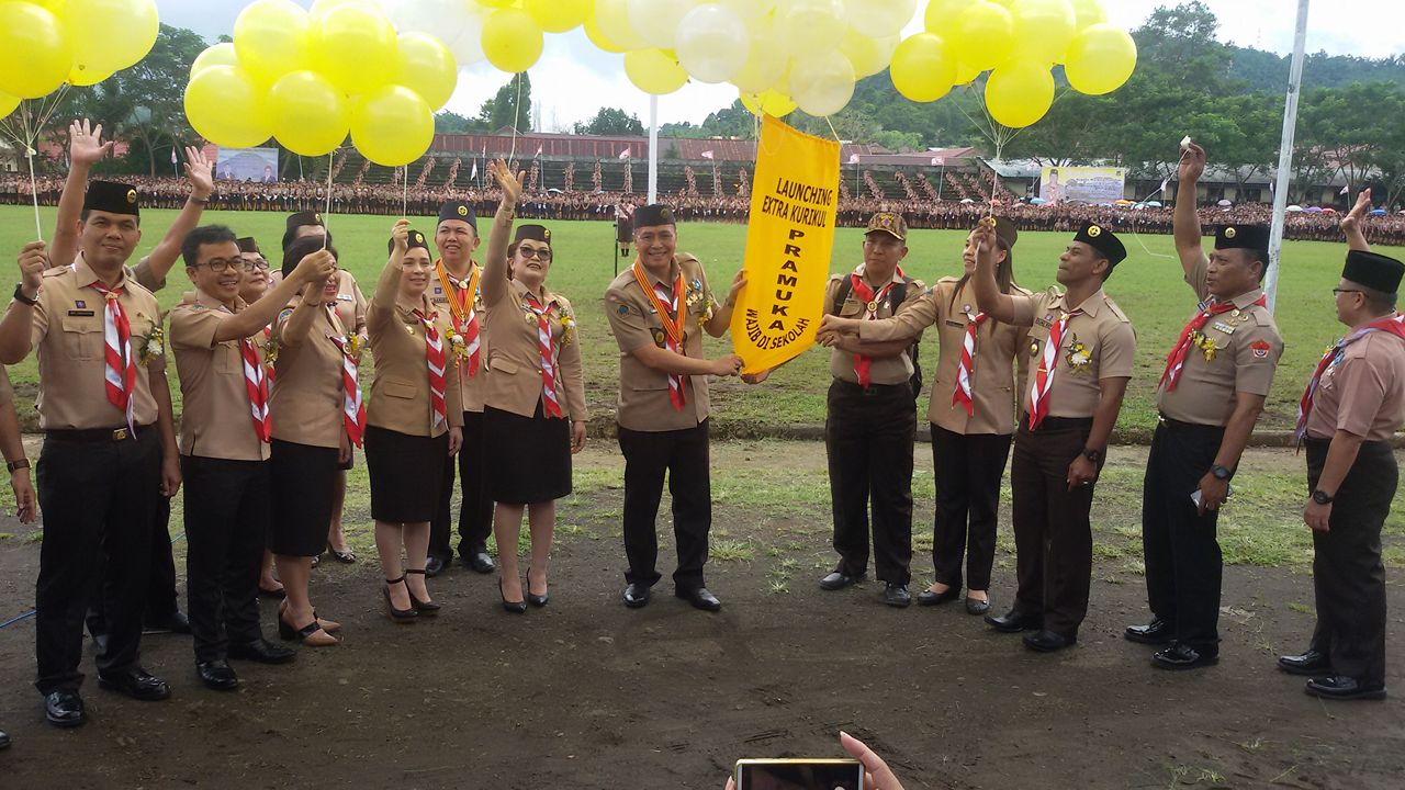 Launching Pramuka sebagai Ekstrakurikuler Wajin dis ekolah-sekolah Kota Tomohon