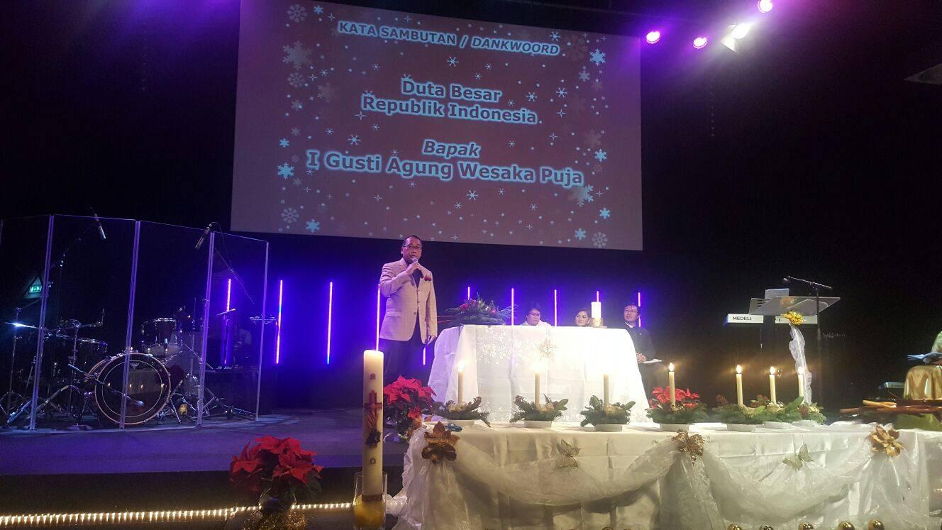 Dubes Indonesia untuk Belanda I Gusti Agung Wesaka Pujia membawakan pesan Natal