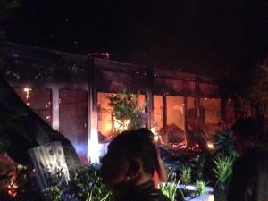 Ruangan yang sementara terbakar di SMP Katolik Bumda Hati Kudus Woloan
