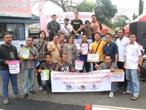 Peduli Banjir, Jurnalis Independen Tomohon, CV Anugerah Mulia dan Polres Galang Dana