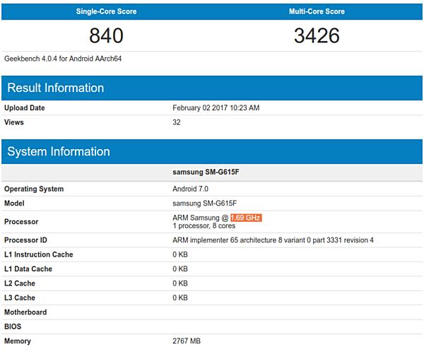Samsung , SM-G615F,  GFXBench ,Geekbench