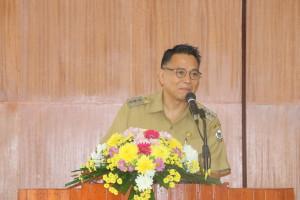 Wali Kota Jimmy F Eman SE Ak membawakan sambutan