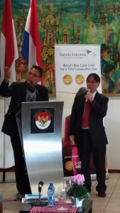 Wali Kota Jimmy F Eman SE Ak mempresentasikan potensi dan TIFF di Den Haag Belanda