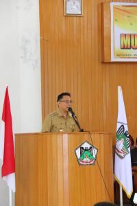 Wali Kota Tomohon Jimmy F Eman SE Ak membawakan sambutan di Musrenbang RKPD 2018