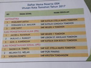 SMP Katolik Stella Maris Terbaik di Matematika dan IPS, SMPN 1 Terbaik IPA di OSN