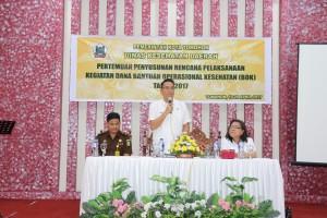 Wali Kota Tomohon memberikan sambutan pasa Penyusunan Dana BOK