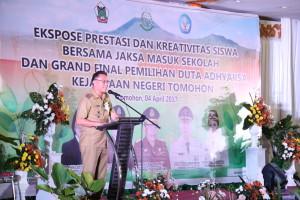 Wali Kota Tomohon membawakan sambutan di Puncak Kegiatan Ekspresi JMS