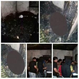 Personil Polres Minsel saat melakukan olah TKP di lokasi kebakaran. Foro bagian lain, korban yang meninggal akibat terbakar. (foto Humas Polres Minsel)