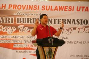 Wakil Gubernur Steven O.E Kandouw, ketika memberikan sambutan di acara peringatan hari buruh internasional (Mayday) Provinsi Sulut.