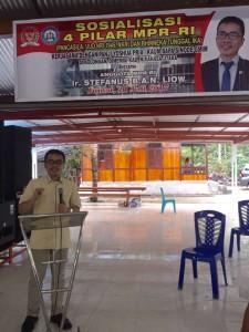 Senator Ir Stefanus BAN Liow saat mensosialisasikan Empat Pila5r MPR-RI di Minahasa Utara