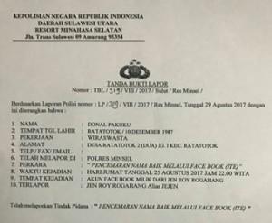 Jen Roy Rogahang, Pencemaran Nama Baik, james sumendap