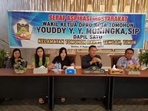 Wakil Ketua DPRD Tomohon Youddy YY Moningka SIP serap aspirasi di Kelurahan Matani Tiga