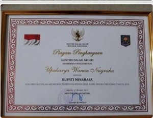 Penghargaan Upakarya Wanua Nugraha ,Mendagri, minahasa