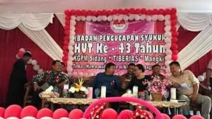 Hadiri HUT ke-43 KGPM Tiberias Mangkit, Sumendap Sumbang Rp50 Juta Pembangunan Gereja