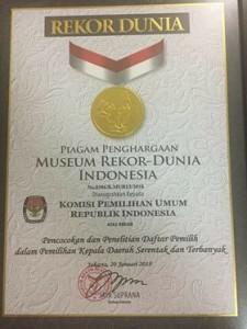 Rekor MURI, Rekor MURI KPU RI, KPU minahasa,pilkada minahasa 2018