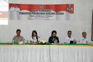 Rapat Koordinasi Penguatan Penanganan Bencana Daerah di Shelter BPBD Kota Tomohon