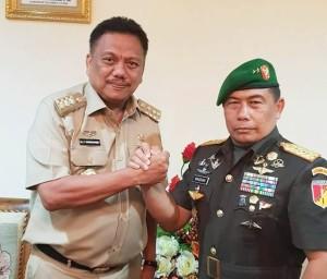 Olly Bahas Pengamanan Wilayah Perbatasan di Sulut dengan Pangdam XIII/Merdeka