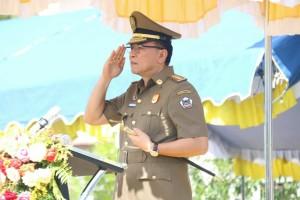 Wali Kota Tomohon Jimmy F Eman SE Ak bertindak sebagai Inspektur Upacara