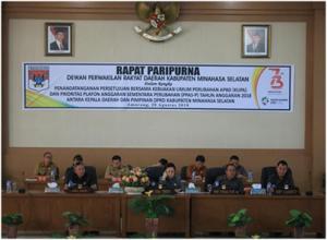 DPRD Minsel Laksanakan Paripurna Penandatanganan Persetujuan Bersama KUPA dan PPAS-Perubahan Tahun Anggaran 20185