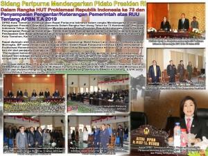 Rapat Paripurna Istimewa DPRD Tomohon Mendengarkan Pidato Presiden dan Pengantar Nota Keuangan APBN 2019