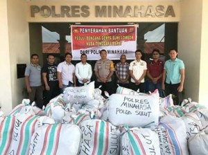 Polres Minahasa Kirim 6.575 Pakaian Untuk Korban Gempa Lombok