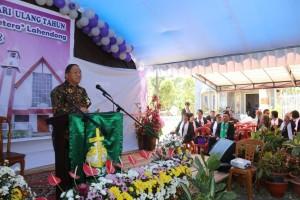 SEkretaris Kota Tomohon Ir Harold V Lolowang MSc MTh memberikan sambutan