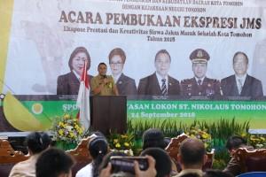 Wali Kota Tomohon memberikan sambutan di Pembukaan Ekspresi JMS
