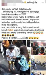 Fingerprint 'Berjalan', Kaban BKD Pemkot Manado, facebook, Corry Tendean
