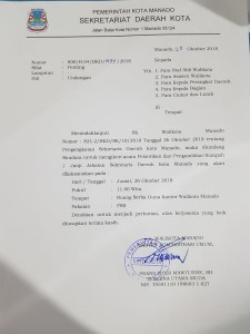surat undangan pelantikan Sekretaris Daerah Kota Manado