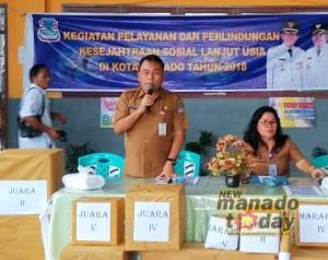 dinas sosial Manado, lansia kota manado, Olvy Lengkong, Drs. Sammy Kaawoan, kadis dinsos manado,