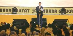 Presiden Joko Widodo saat menghadiri HUT ke-54 Partai Golkar