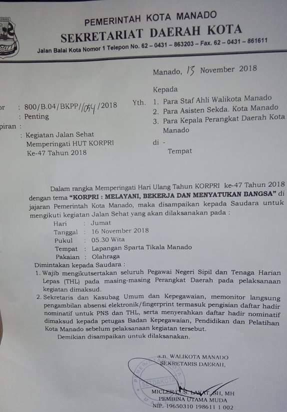 HUT KORPRI ke-47, tema HUT KORPRI ke-47, Pemkot Manado