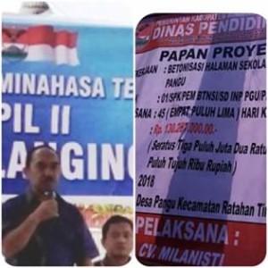Komisi C DPRD Kabupaten Minahasa Tenggara, SD Inpres Pangu, Proyek Asal Jadi, CV minalanisti