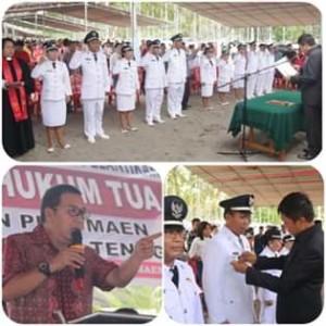Disaksikan Bupati Sumendap, Wabud Legi Lantik 12 Penjabat Hukum Tua di Kecamatan Pusomain