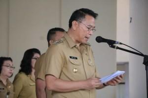 Wali Kota Tomohon Jimmy F Eman SE Ak CA menjadi Irup Hari Otda XXIII di Anugerah Hall