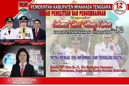 Badan Penelitian Dan Pengembangan Kabupaten Minahasa Tenggara Mengucapkan HUT ke-12
