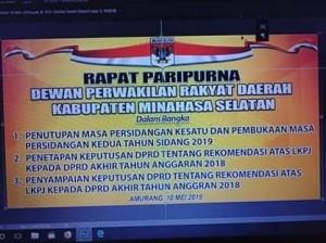 DPRD Minsel Laksanakan Rapat Paripurna Dengan Tiga Agenda